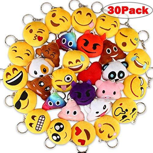 Aiduy Emoji Schlüsselanhänger, Mini-Pop-Schlüsselanhänger, Schlüsselanhänger, 6 cm, tolles Geschenk / Geschenk für Kinder, für Kinder (30 Stück)
