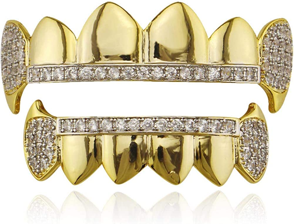 18K Gold Plated Iced Out CZ Top and Bottom Vampire Fangs Grillz for Your Teeth Hip Hop