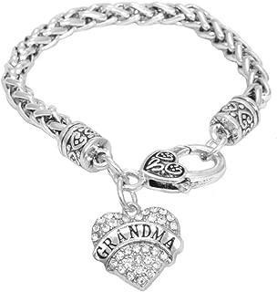 Grandma Bracelet Engraved Gift Jewelry Grandma Crystal Adorned Heart Shaped Pendant Lobster Claw Bracelet Gift Mom Grandma Colorless