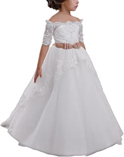 Elegant Flower Girl Lace Beading First Communion Dress 2-12 Years Old White with Pink Bow Size 2