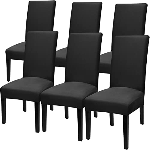 Fuloon 6 Pack Super Fit Stretch Removable Washable Short Dining Chair Protector Cover Seat Slipcover for Hotel,Dining...