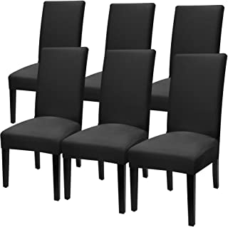 Fuloon Super Fit Stretch Jacquard Removable Washable Short Dining Chair Covers Seat Slipcover for Hotel,Dining Room,Ceremony,Banquet Wedding Party (6, Deep Black)