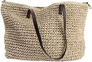 Kimiyar Summer Women Durable Weave Straw Beach Linen Woven Bucket Grass  Casual Tote Handbags Rattan Bags f26285cbb5cd