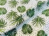 Baumwollstoff mit grünen Punkten – tropische Blätter,