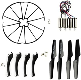 Coolplay Full Set Replacement Props Propellers & Motors & Landing Gears & Blade Frames Spare Parts Replacement for Syma X5SC X5SW RC Quadcopter ( Black)