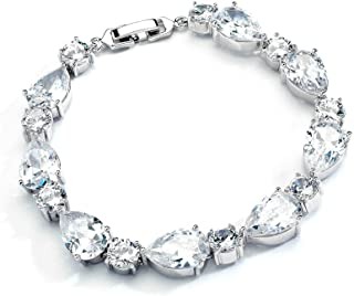 Glamorous CZ Bridal Bracelet Pear-Shaped and Round Cut - Ideal Wedding and Bridesmaids Jewelry