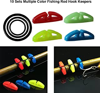 10 Sets Multiple Color Fishing Rod Hook Keepers with 3 Size Elastic Rubber O-Rings Small Fishing Gaff Lure Bait Holders Easy Adjustable Plastic Fishing Pole Hook Keeper Springs Tools Kit