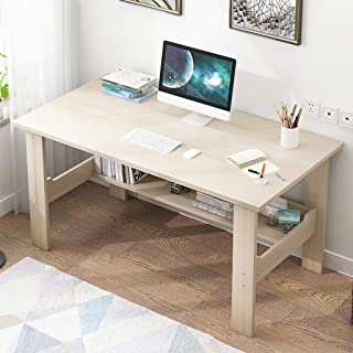 karamoda home office stand up desk, stylish moisture-proof wooden multi-layer laptop computer desks working table, study writing desk 40 inch large, easy to install (white)