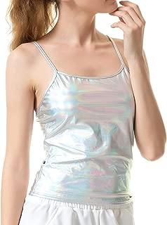 Women's Shiny Metallic Camisole Liquid Wet Look Crop Top Tank Tops for Party Rave