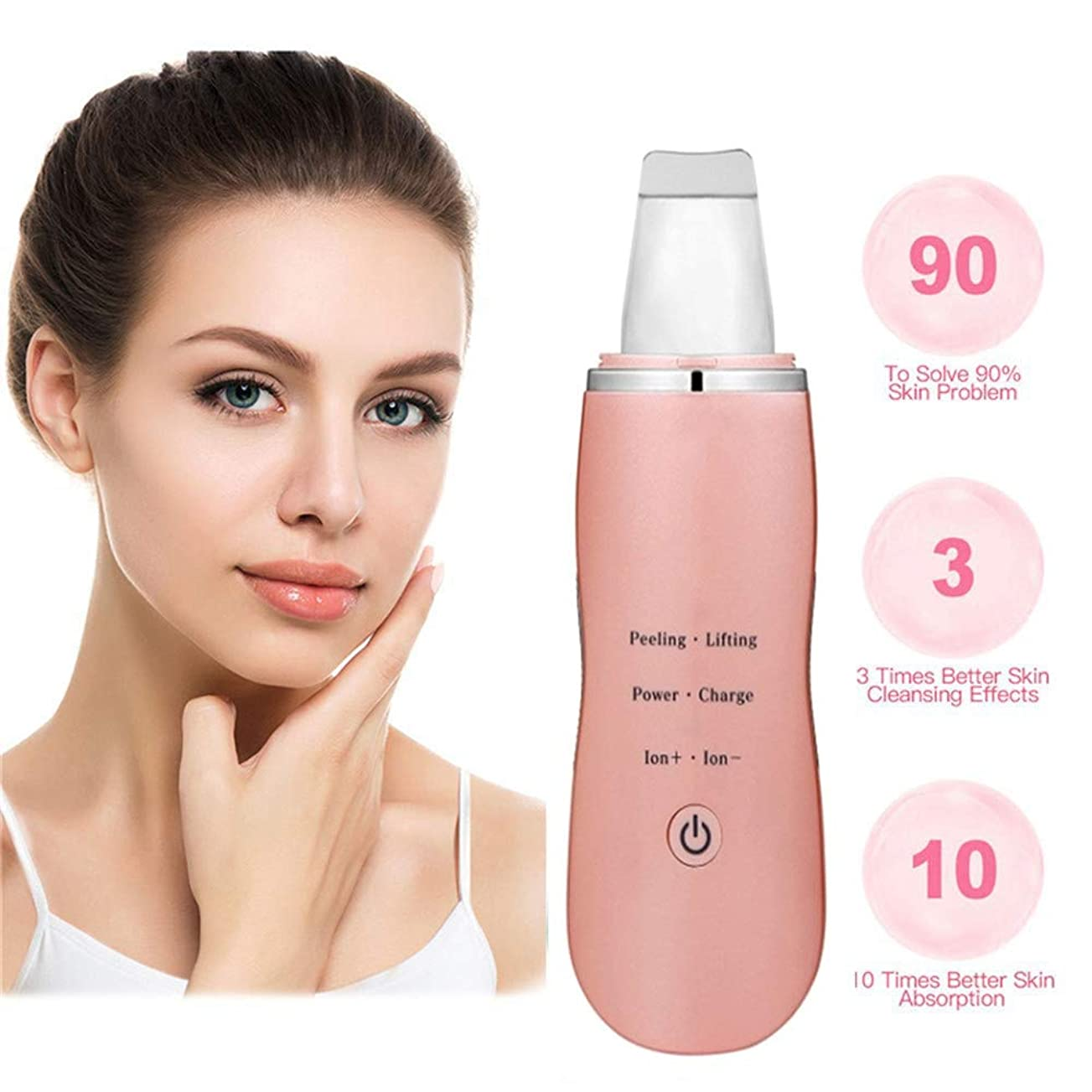 抑制する熱意干ばつ肌研削顔の皮膚超音波クレンジングシャベル、にきびにきび深いクレンジング毛穴汚れUSB充電式防水毛穴クリーナーフェイシャルリフティングツール (Color : ピンク)