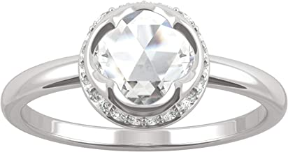 White Gold Moissanite by Charles & Colvard 6.5mm Round Rose Cut Engagement Ring, 0.73cttw DEW