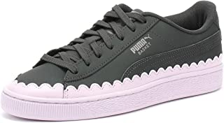 PUMA Womens Black Rubberized Basket Trainers