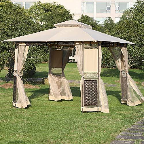 Garden Pavilion, Double Roof Outdoor Canopy Garden Gazebo with Side Walls for Villa Courtyard Sunshine Board Terrace