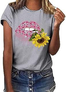 Loosebee◕‿◕ Women Tops,Women Sunflower Print Casual Short Sleeved T-Shirt Plus Size Blouse Tops