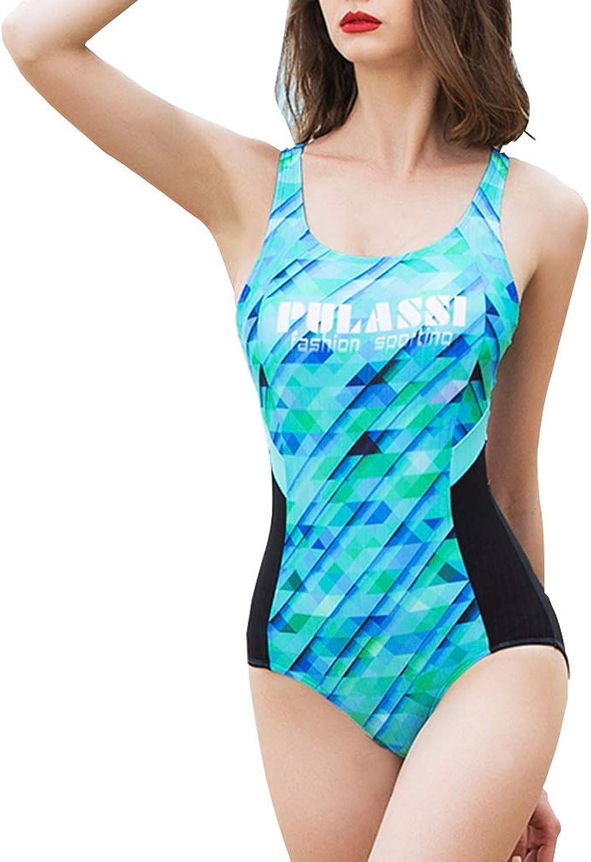 FENGMING Damen Einteiler Badeanzug Athletic Padded (Farbe   Grün, gre   M)