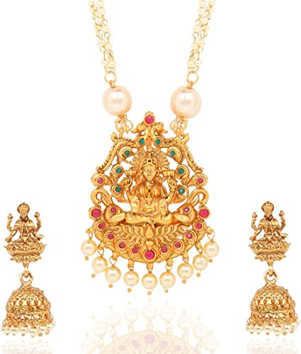 Ethnic Temple Jewellery Set Gold Plated Lakshmi Haram Jewelry Set Traditional Moti Necklace Set For Women Girls