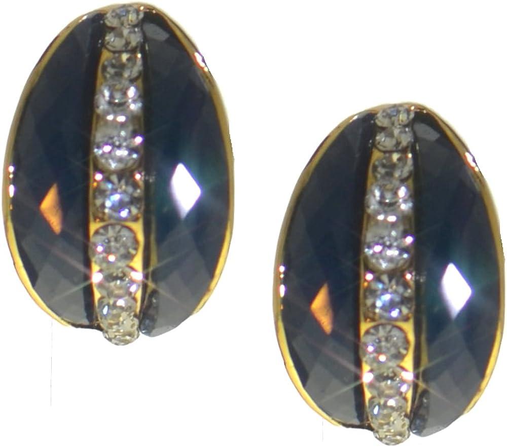 ELAINE gold tone blue and crystal half hoop clip on earrings