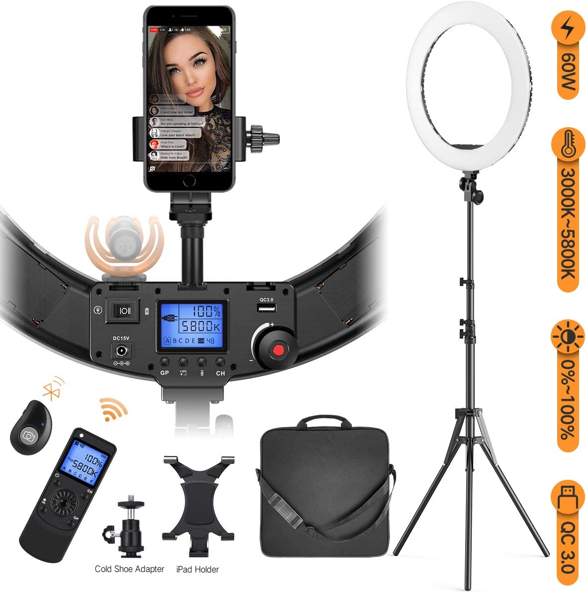 """Ring Light with Wireless Remote Pixel Holder 19"""" Max 87% OFF Over item handling ☆ and iPad"""