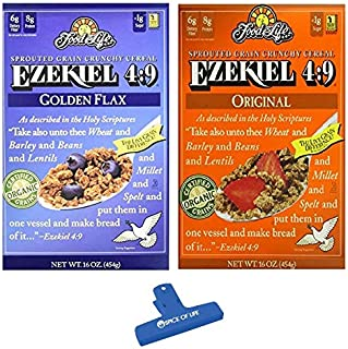 Ezekiel 4:9 Sprouted Whole Grain Cereal Variety, Original and Golden Flax, 3 of each (Pack of 6) - with Spice of Life Bag Clip
