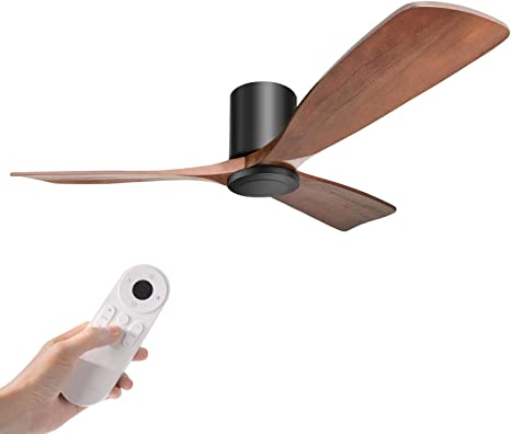 Amazon Com Hakkatronics 52 Flush Mount Modern Ceiling Fans With Remote Control 6 Speed Solid Wood Blades Dc Motor Outdoor Indoor Ceiling Fan Walnut Black Kitchen Dining