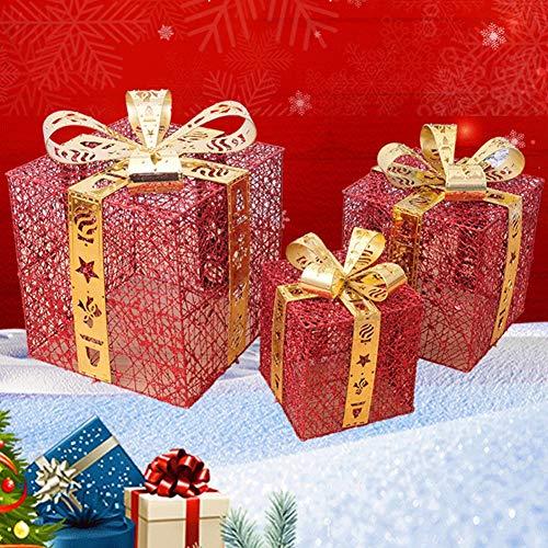 LIPETLI Joyjoz Set de 3 Cajas De Regalo Decorativas con Luz led, Cajas Preiluminadas para DecoracióN NavideñA 15cm 20cm 25cm