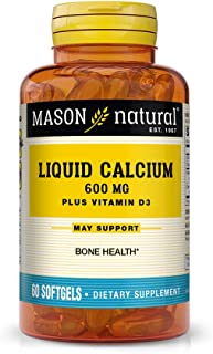 Mason Natural, Calcium Liquid 600 Mg with Vitamin D Softgels, 60-Count Bottles (Pack of 3), Dietary Supplement Supports He...