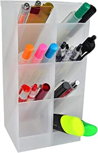 Xiao Chouchou Pen Organizer. Markers,Stationery Caddies Essential for Office/Teacher Supplies. Translucent White Pen Storage Holder. Perfect for Desktops