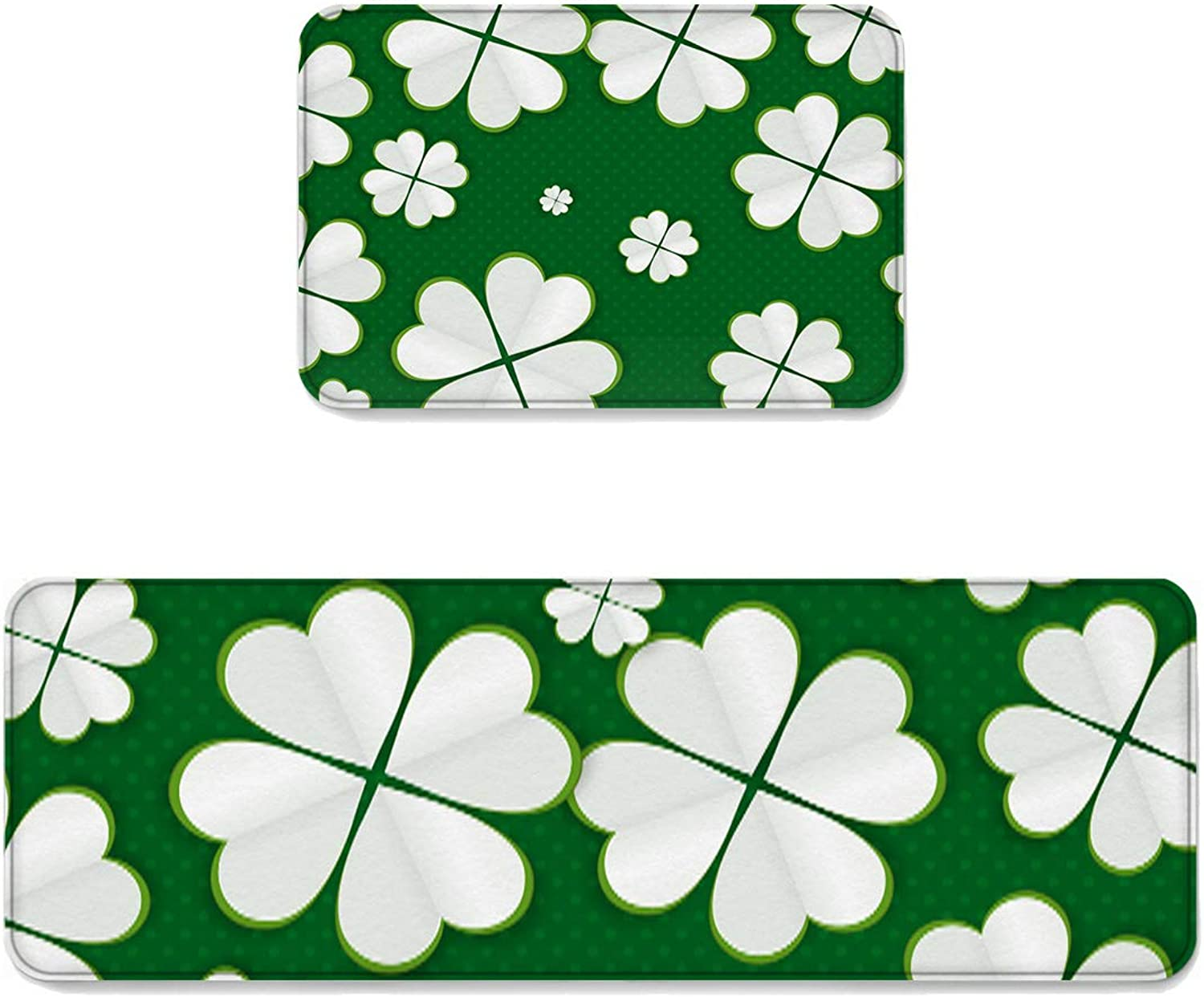 Kitchen Rug Sets 2 Piece Floor Mats Non-Slip Rubber Backing Area Rugs White Four Leaf Shamrock and Dots Pattern Doormat Washable Carpet Inside Door Mat Pad Sets (19.7  x 31.5 +19.7  x 63 )
