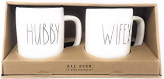 Rae Dunn by Magenta HUBBY and WIFEY Ceramic Coffee Mug Set