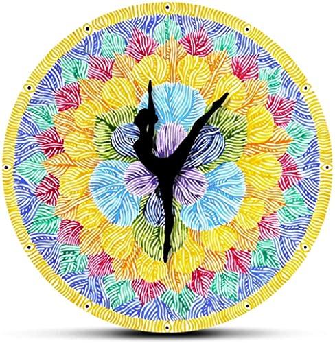 Reloj De Pared Reloj De Pared Charm Color Of Chakra Sign Impreso Mudo Reloj De Pared Grande Reloj De Yoga Mano Flor De Loto Colorida Pintura De Acuarela Reloj Colgante De Pared Habitación Familiar Ade