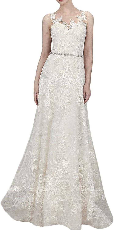 MILANO BRIDE Princess Wedding Anniversary Dress For Women Illusion Neck Lace