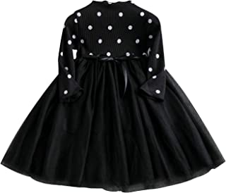 DXTON Vestito da Bambina in Tulle Vestito a Maniche Lunghe Vestiti Primavera Autunno Taglia 90-130