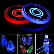 Lipctine Universal LED Car Cup Holder Lights Mats Pad Colorful Lamps RGB Drink Coaster Accessories Interior Decoration Atm...