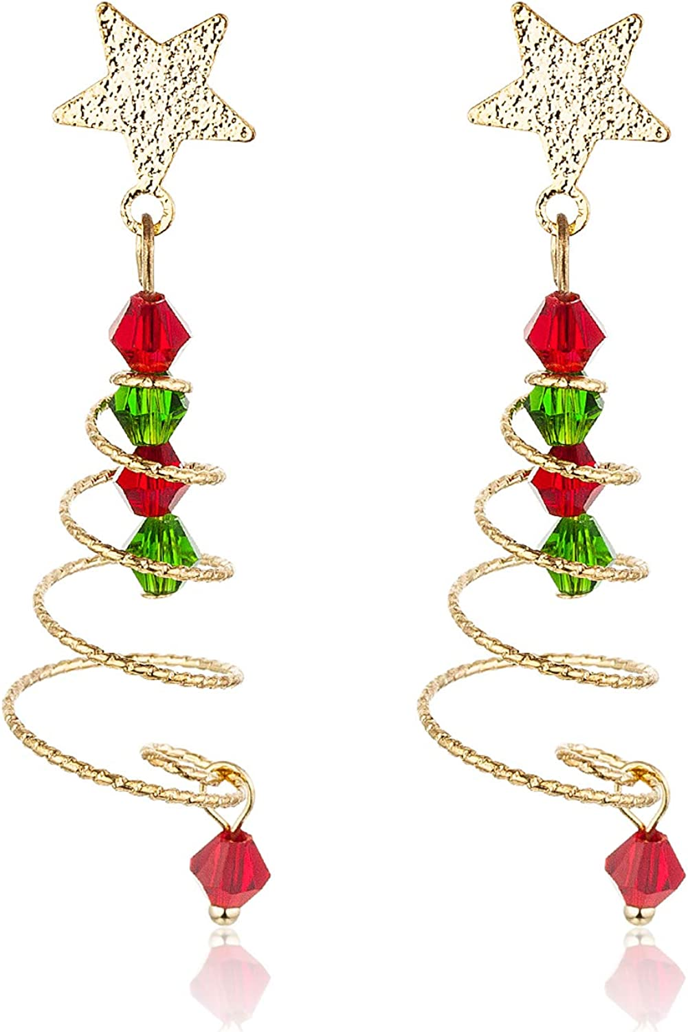 Clip On Christmas Tree Earrings for Women and Girls Red Green Beads Charm Dainty Christmas Earrings
