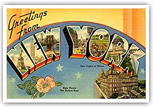 GREETINGS FROM NEW YORK vintage reprint postcard set of 20 identical postcards. Large letter US state name post card pack ...