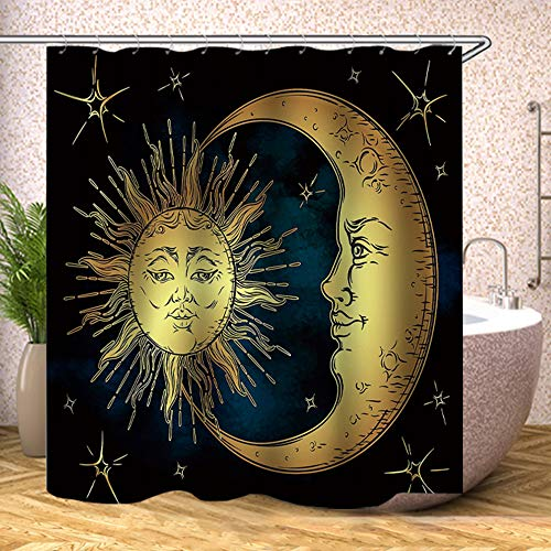 Sun and Moon Shower Curtain Fabric,Boho Chic Art Golden Sun Moon and Stars Over Blue Black Sky Antique Style Polyester Cloth Print Bathroom Curtains Include Hooks Set 72〃w by 72〃L (YL1412)