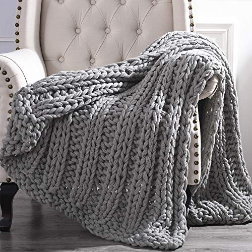 Amrapur Overseas Luxury Chunky Knit Acrylic Bed Sofa Throw, Charcoal