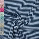 Jersey Stoff Noah, gestreift 2mm, hellblau/dunkelblau (50cm