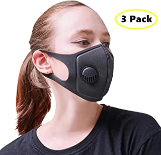 3 Pack Best Air Pollution Face Mask with Respirator - Anti-Dust, Smoke, Gas, Allergies - Military Grade - Washable and Reusable - Supports Breathing Clean Air - N95 Protection