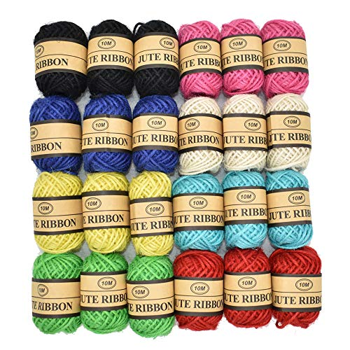 Renashed Natural Twine 24 Pack 8 Color Random 3 Ply Gift Wrapping String Arts Crafts Gift Christmas Packing Materials String for Gardening Applications