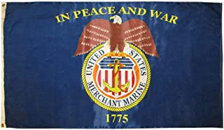 American Wholesale Superstore 3x5 United States Merchant Marine in Peace and War 3'x5' Premium Quality Heavy Duty 100D Polyester Flag (RUF)