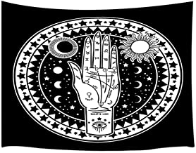 JAWO Sun and Moon Tapestry Wall Hanging, Vintage Fortune Teller Hand with Palmistry Diagram Tapestries, Polyester Fabric Large Wall Tapestry for Home Living Room Bedroom Dorm Decor 80W X 60L Inches