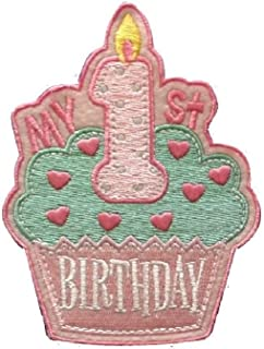 First 1ST BIRTHDAY Iron On Patch Cupcake Cake Applique Girls Baby Kids Motif Children Decal 4.3 x 3.1 inches (10.8 x 7.8 cm)