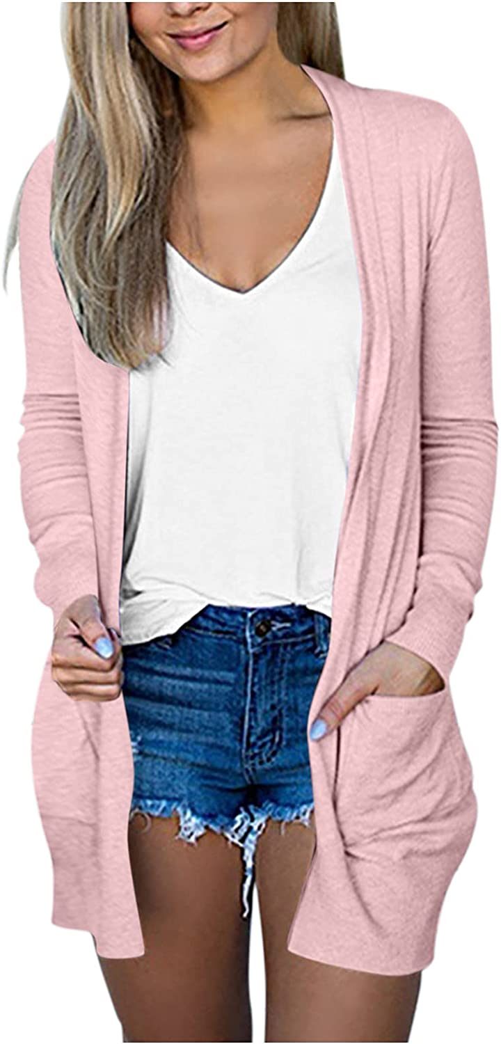 Kcocoo Women's Solid Long Sleeve Jacket Open Front Cardigan Coat with Pockets Outerwear Casual Lightweight Breathable Jacket