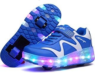 Ulike Kids Led Roller Sneakers USB Rechargeable, Junior Girls Boys LED Light Up Flashing Skate Shoes Sport Sneakers with Wheels