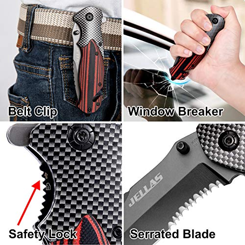 Upgraded Tactical Knife for Men, 9Cr18Mov Stainless Steel Pocket Folding Knife with 3.6 inch Blade, Hunting Camping Knifes with Window Breaker, Seatbelt Cutter, Leather Sheath Included