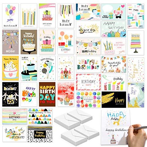36 Geburtstagskarte Grusskarte,Geburtstagskarten Set mit umschlag,Happy Birthday Set mit Grußkarten,Geburtstagskarten-Set für Frauen & Männer,Alles Gute zum Geburtstag Karten,Glückwunschkarten