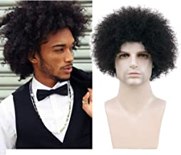 BECUS Afro Wig Short Kinky Curly 100% Human Hair Wigs for Black Men None Lace Wig (8 inches Natural Spiral Black #1B)