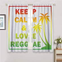 GUUVOR Rasta Blackout Curtain Set Keep Calm and Love Reggae Quote in Ombre Rainbow Colors Music Themed Kindergarten Shading Insulation W54 x L84 Inch Pale Green Red and Yellow