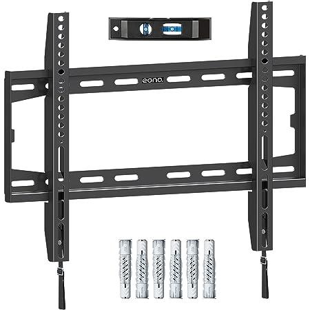 Amazon Brand – Eono Support Murale TV Fixes Robustes, pour la Plupart des Téléviseurs LED, LCD, OLED et Plasma de 26-55 Pouces jusqu'à VESA 400x400mm et 45,5kg, Support TV PL2361-K